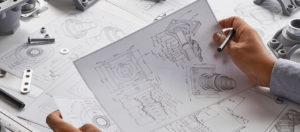 Engineer technician designing drawings mechanicalparts enginee